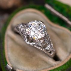 1920s Engagement Ring, Filigree Engagement Ring, Antique Diamond Rings, Emerald Jewelry, European Cut Diamonds, Diamond Cuts, Diamond Ice, June Birth Stone, Antique Jewelry