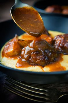 Selecting The Suitable Cheeses To Go Together With Your Oregon Wine You Might Want To Sit Down Before Considering This. Mustardy Porky Meatballs In A Beer Sauce With Cheesy Polenta. Beer Recipes, Pork Recipes, Cooking Recipes, Coffee Recipes, Dinner Recipes, Polenta, Barbecue Pork Ribs, Bbq, Bacon