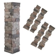GenStone Stack Stone ft Kenai Faux Stone Veneer Panel at Lowe's. The Pillar Panel system provides an easy-to-install solution that will give you the look of Stacked Stone for about half the cost of traditional masonry. Stone Siding Panels, Faux Stone Siding, Stone Veneer Panels, Stacked Stone Panels, Faux Stone Panels, Faux Stone Veneer, Siding Options, Stone Pillars, House Design Photos