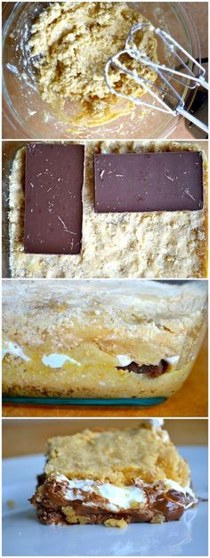 baked smores bars - the hard part is spreading the fluff. moist bar. *use mini marshmallows instead of fluff, and chocolate chips instead of breaking up candy bars; correction to 1 1/2 cups flour. Also see other smores recipe in mini cupcake pan
