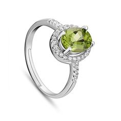 Fantastic Micro Pave AAA Zircon 925 Sterling Silver Finger Ring with Natural Peridot, Platinum Size:about 18mm inner diameter(Adjustable); Peridot: 6x8mm.<br/>Priced per 1
