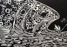 Small Fly linocut print fly-fishing artwork by Jonathan Marquardt of BadAxeDesign