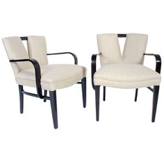 Pair of V Back Armchairs by Paul Frankl | From a unique collection of antique and modern armchairs at https://www.1stdibs.com/furniture/seating/armchairs/