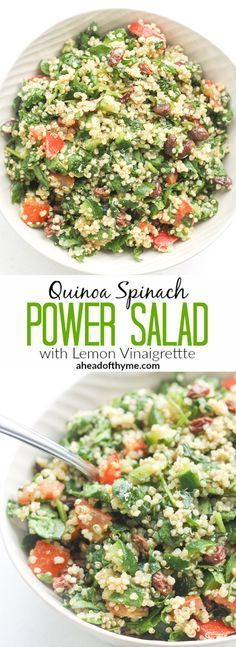 Quinoa Spinach Power Salad with Lemon Vinaigrette: Take a bite into this refreshing, gluten-free quinoa and spinach salad bursting with colourful tomatoes, cucumbers and raisins | aheadofthyme.com via @aheadofthyme