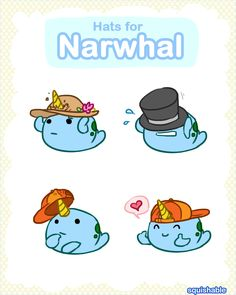 Hats for Narwhal! #squishable #plush #art #narwhal