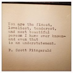F. Scott Fitzgerald Quote Typed on Typewriter and Framed via Etsy