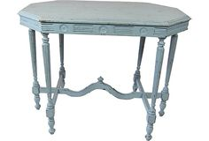 """499 French Side Table on OneKingsLane.com    FranceMaterials:woodSize:37"""" L x 22.5"""" W x 29"""" HColor/Finish:blue"""