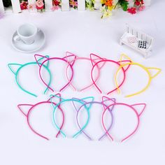 Girls' Accessories 10 Mixed Color Plastic Cat Ear Hair Tiara Princess Headband Hair Band With Teeth Cat Ears Headband, Pearl Headband, Flower Hair Band, Ear Hair, Tiara Hairstyles, Hair Hoops, Headband Styles, Elastic Hair Bands, Headbands For Women