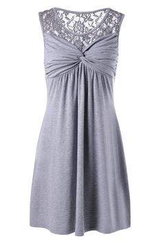 $14.74 Twist Front Lace Trim Sleeveless Dress - Gray