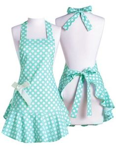 Cute clothing & gifts for cute girls Retro Apron Patterns, Apron Pattern Free, Sewing Clothes Women, Diy Clothes, Clothes For Women, Apron Dress, Diy Dress, Aqua, Sewing Aprons