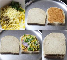making stuffing for grilled corn cheese sandwich Types Of Sandwiches, Panini Sandwiches, Delicious Sandwiches, Easy Sandwich Recipes, Bread Recipes, Breakfast Snacks, Breakfast Recipes, Corn Cheese Sandwich, Paninis
