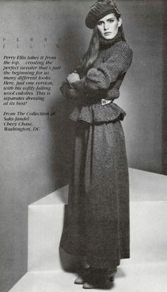 Perry Ellis Chunky Knitwear, 80s Fashion, Fashion Ideas, Fashion Trends, Vintage Fashion Photography, Perry Ellis, Designer Wear, 1980s, Personal Style