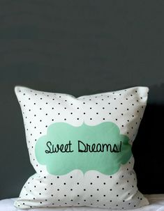 Sweet Dreams Nursery Pillow Cover - Black polka dots with MINT frame - Kids cushion cover on Etsy, $35.00