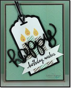 Masculine birthday card made with the Build a Birthday stamp set and Hello You Thinlits Dies from Stampin Up by Kathleen Wingerson   www.kathleenstamps.com