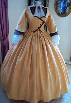 1800s Victorian Dress - 1860s Civil War Day Gown - Walking Traveling Suit - Carriage Bodice - Skirt - Golden Toffee Moire'