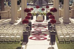 Red rose aisle for wedding and decorative petals