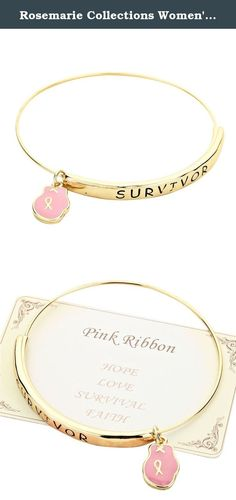 "Rosemarie Collections Women's Pink Ribbon Boxing Glove Charm Bangle Bracelet ""Survivor"" (Gold). Rosemarie Collections offers fashionable and inspirational jewelry for all occasions, a nice addition for your own collection or a great gift for someone special."