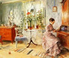 Carl Larsson, An interior with a woman reading (1885)