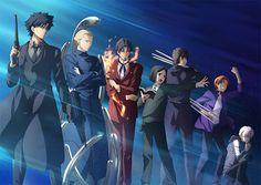 Fate/Zero Masters (L-R: Kiritsugu Emiya, Kayneth Archibald El-Melloi, Tokiomi Tosaka, Waver Velvet, Kirei Kotomine, Ryunosuke Uryu, Kariya Matou.