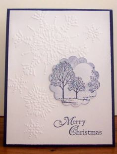 Lovely as a Tree by BLN - Cards and Paper Crafts at Splitcoaststampers----tree stamp on circle punch is big impact Christmas Cards To Make, Xmas Cards, Holiday Cards, Scrapbook Cards, Scrapbooking, Snowflake Cards, Embossed Cards, Winter Cards, Paper Cards