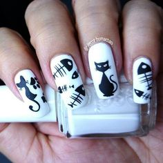 Cute Nail Designs For Spring – Your Beautiful Nails Cat Nail Art, Animal Nail Art, Cat Nails, Nail Art Diy, Cat Nail Designs, Halloween Nail Designs, Halloween Nail Art, Spooky Halloween, Fish Nails