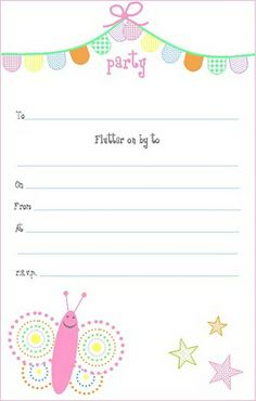Free printable - Pink Butterfly Party Invitations  http://ginghamcherry.blogspot.com/2010/05/free-printable-pink-butterfly-party.html