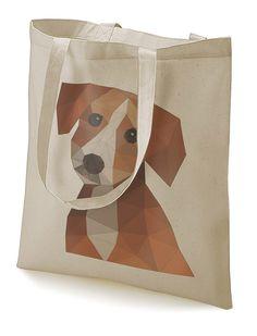 """Stoffbeutel """"Polygonal dog"""" natur von MAD IN BERLIN auf DaWanda.com"""