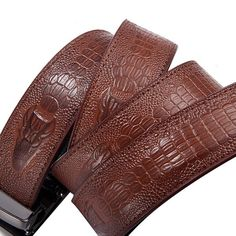 Men Second Floor Cowhide Belt Automatic Buckle Waistband Crocodile Pattern Waist Strap