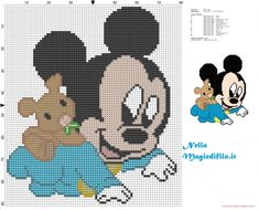 Baby Mickey Mouse crawling with teddy bear pattern