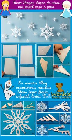 Paper snowflakes hanging for a simple backdrop idea perfect for a Frozen birthday party.