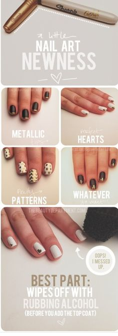 36 amazing manicure hacks you should know pinterest manicure rubbing alcohol will take sharpie off nailpolish if mistakes happen diy sharpie nail art nails black gold diy nail art easy crafts diy ideas diy crafts do solutioingenieria Gallery