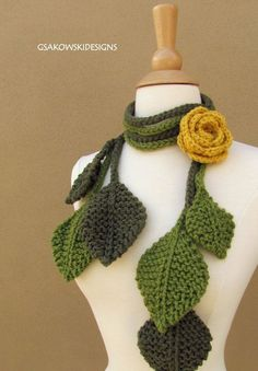 Crochet leaf scarf for mother nature