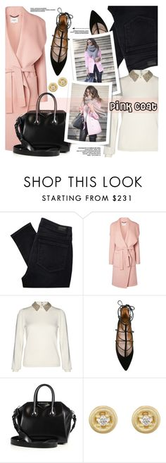 """Pink Coat"" by yurisnazalieth ❤ liked on Polyvore featuring Paige Denim, L.K.Bennett, Alice + Olivia, Aquazzura, Givenchy and Tate"