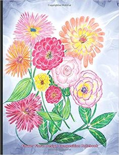 Flower Floral Design Composition Notebook College Ruled Book, Softcover Perfect Bound, Lined 100 pages (50 Sheets), 9 3/4 x 7 1/2 inches  - Do It Yourself undated lined notebook,  7.44 x 9.69 in,