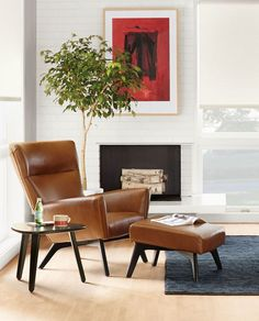 Boden Leather Chair & Ottoman is part of Leather sofa chair - Boden's high back and sculptural wood base make it a bold modern leather lounge chair with exceptional comfort My Living Room, Living Room Chairs, Living Room Furniture, Dining Chairs, Lounge Chairs, Office Chairs, Bag Chairs, Living Spaces, Dining Room