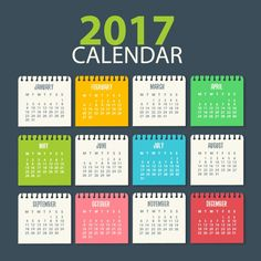 Colección de calendarios 2017 en vector. Al estar en este formato podrás modificarlos con el programa Adobe Illustrator. Te los puedes descargar gratis.