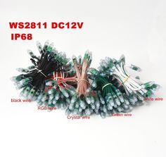 Дешевое Dhl 500 пикселей из светодиодов строка праздник света WS2811 12 В 12 мм из светодиодов модуль, черный / зеленый / белый / кристалл / RGB провод ; адресный, IP68 водонепроницаемый, Купить Качество полосы светодиодные непосредственно из китайских фирмах-поставщиках:       Четыре варианта                Черный провод: 10x50 пикселей/строку WS2811 12 В светодиодные модули черный провод
