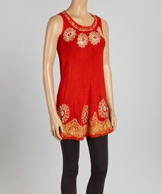 Look what I found on #zulily! Rust Orange & Gold Floral Sleeveless Tunic by Aqua Blue #zulilyfinds