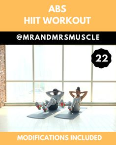 TONE and SCULPT your Abs and Obliques in this fun and intense HIIT Workout. We have over 600 workouts on our IG Channel (MrandMrsMuscle) and [. Abs And Obliques Workout, Full Body Hiit Workout, Ab Core Workout, Oblique Workout, Gym Workout Videos, Abs Workout Routines, Fitness Workout For Women, Ab Workout At Home, At Home Workouts