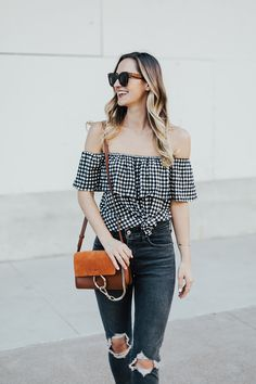 Gingham Off Shoulder Top - LivvyLand | Austin Fashion and Style Blogger