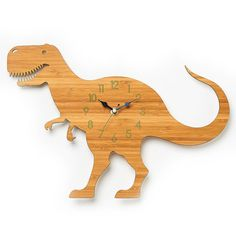 Dinosaur Clock, T-rex Modern Wall Clock, Childrens Clock, Laser Cut By Owl…