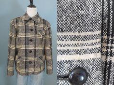 Vintage WOOL TWEED jacket black and white blazer by DstudioVintage