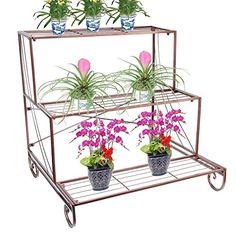 Metal Plant Stand 3 Tier Flower Pot Holder Outdoor Garden Patio Planter Bronze for sale online Window Box Flowers, Metal Flowers, Outdoor Balcony, Outdoor Gardens, Hanging Plants, Potted Plants, Metal Plant Stand, Plant Stands, Iron Plant