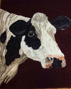 Hooked Rug ... Cow