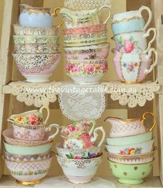 We offer several different styles of premium quality vintage china tea sets to hire for your high tea party in Perth. Vintage Dishes, Vintage China, Vintage Teacups, Vintage Shabby Chic, Vintage Decor, Shabby Chic Tea Set, Shabby Chic House, Shabby Chic Antiques, Victorian Decor