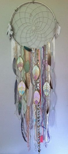 "14"" dreamcatcher by Rachael Rice with watercolor pastel feathers and white fringe  http://rachaelrice.com/art/custom-orders"