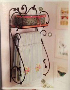 Longaberger Wrought Iron Dogwood Wall Shelf w/ woodcrafts shelf