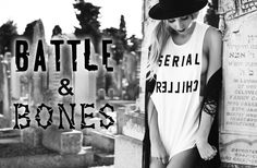 We debut Ash Battle's dead cool new range Battle & Bones with a beautiful collection of black and white imagery shot in Maitland Cemetery, Cape Town, South Africa. The shady calm and looming headstones made the perfect backdrop for the range's stone washed t-shirts and tanks that feature edgy yet playful prints and slogans.  'When you stop doing things for fun you might as well be dead.' — Hemingway