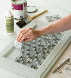 Add tile to Cabinet insets w/mosaic tile adhesive