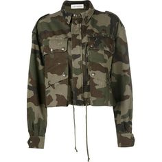 Faith Connexion Camo Short Parka ($810) ❤ liked on Polyvore featuring outerwear, coats, camouflage, camo parka, brown coat, short parka, short parka coat and brown parka